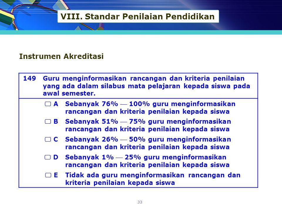 VIII. Standar Penilaian Pendidikan 149Guru menginformasikan rancangan dan kriteria penilaian yang ada dalam silabus mata pelajaran kepada siswa pada a