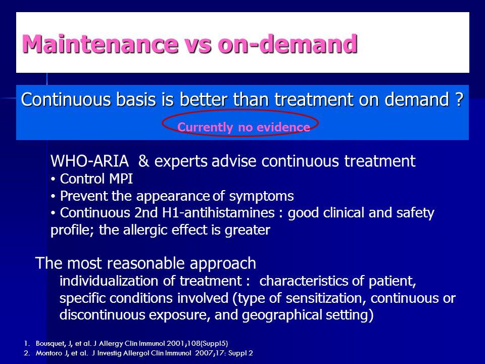 Maintenance vs on-demand Continuous basis is better than treatment on demand ? 1.Bousquet, J, et al. J Allergy Clin Immunol 2001;108(Suppl5) 2.Montoro