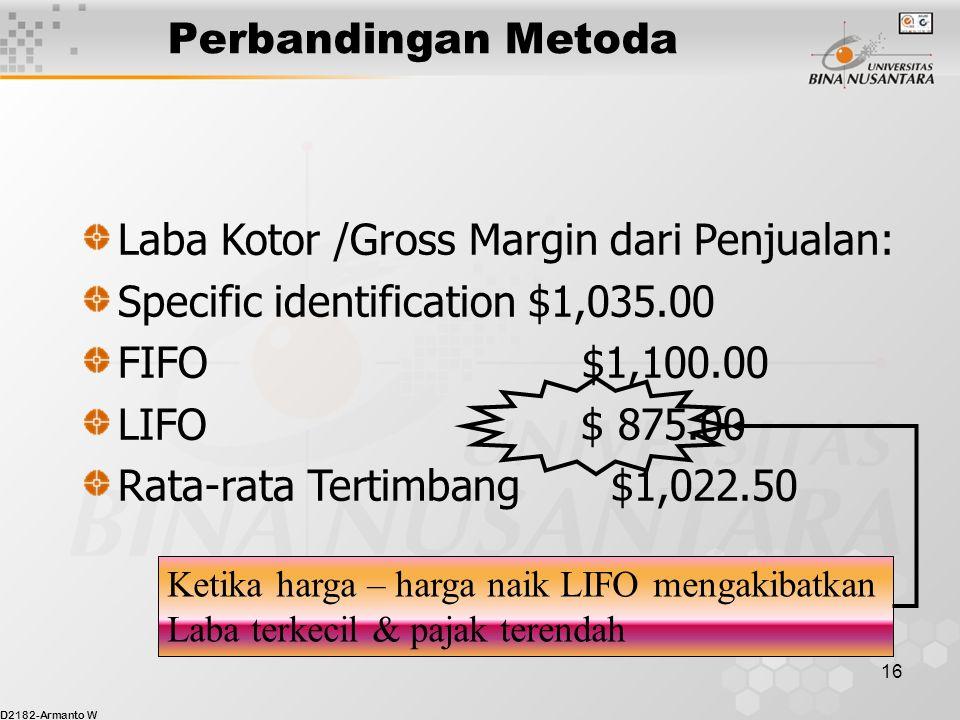D2182-Armanto W 15 Perbandingan Metoda Harga Pokok Penjualan Specific identification$1,965.00 FIFO$1,900.00 LIFO$2,125.00 Rata-rata Tertimbang$1,977.50