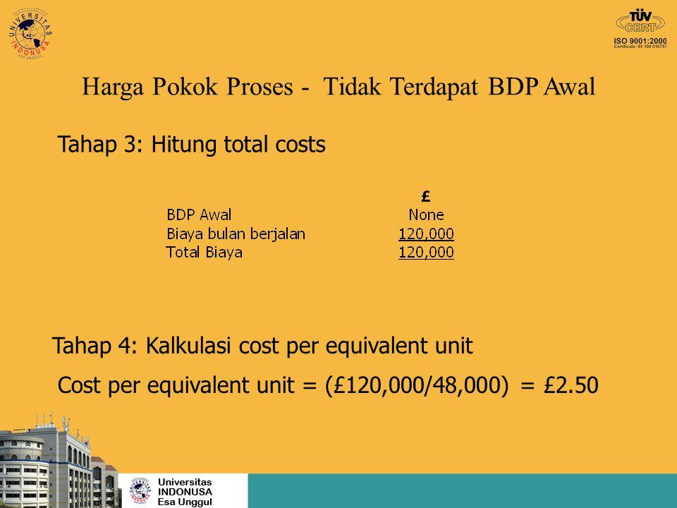 Tahap 3: Hitung total costs Tahap 4: Kalkulasi cost per equivalent unit Cost per equivalent unit = (£120,000/48,000) = £2.50