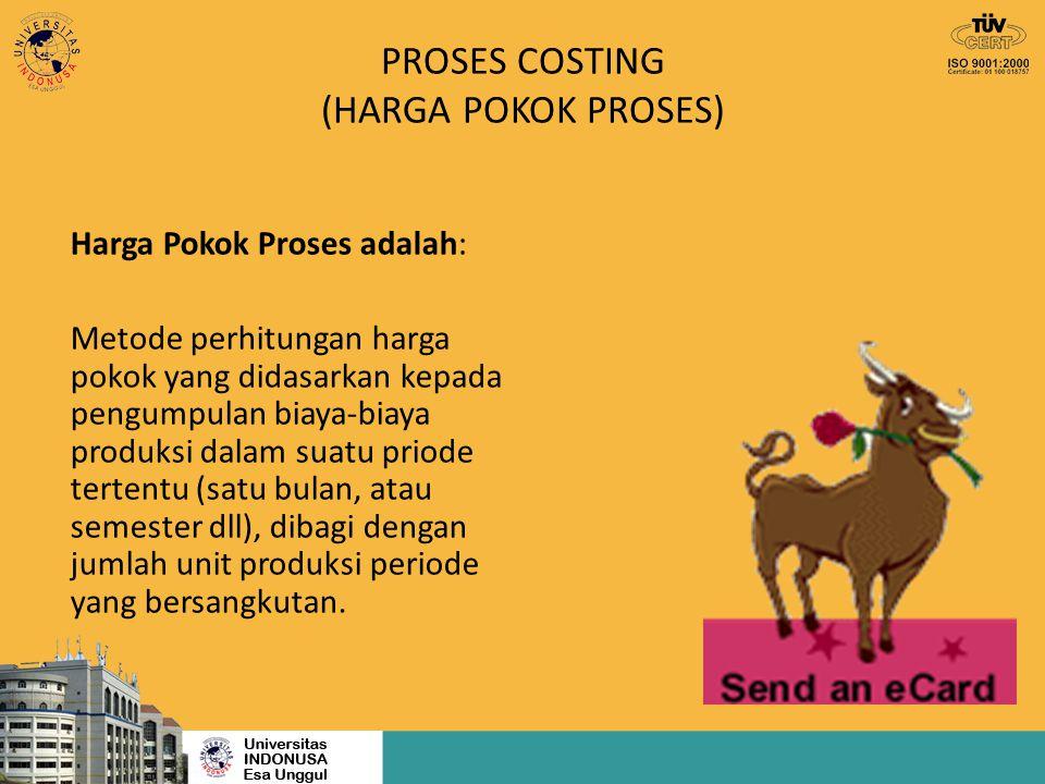 PROSES COSTING (HARGA POKOK PROSES) Harga Pokok Proses adalah: Metode perhitungan harga pokok yang didasarkan kepada pengumpulan biaya-biaya produksi