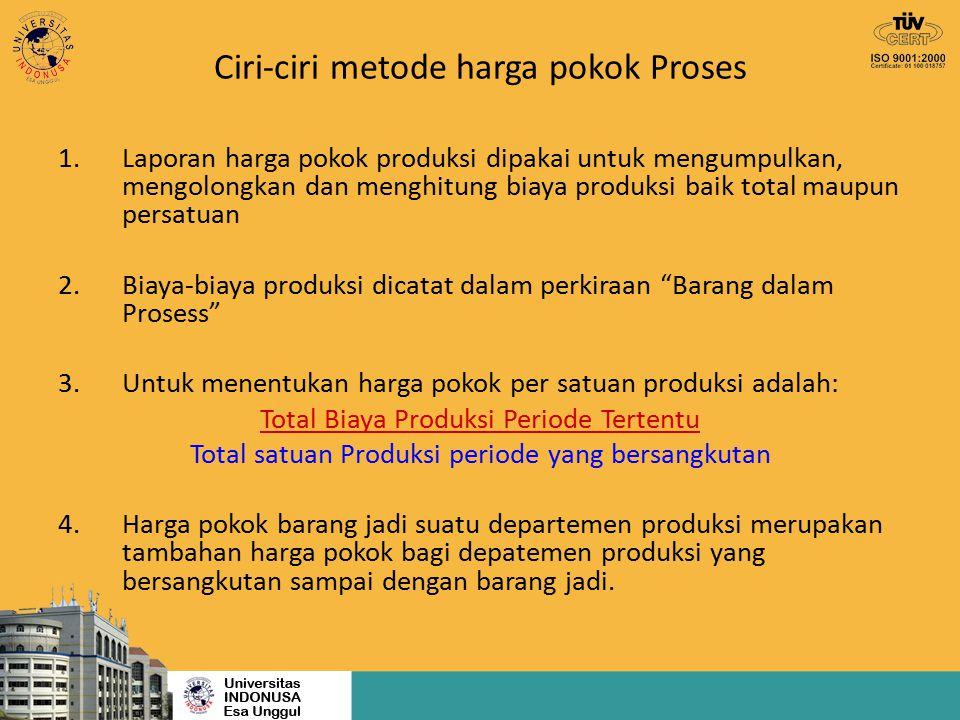 Ciri-ciri perusahaan yang memakai harga pokok proses a.Proses produksi berlangsung kontinyu (terus menerus) b.Produk yang dihasilkan bersifat produk standar (homogen) c.Tujuan produksi adalah untuk persediaan.