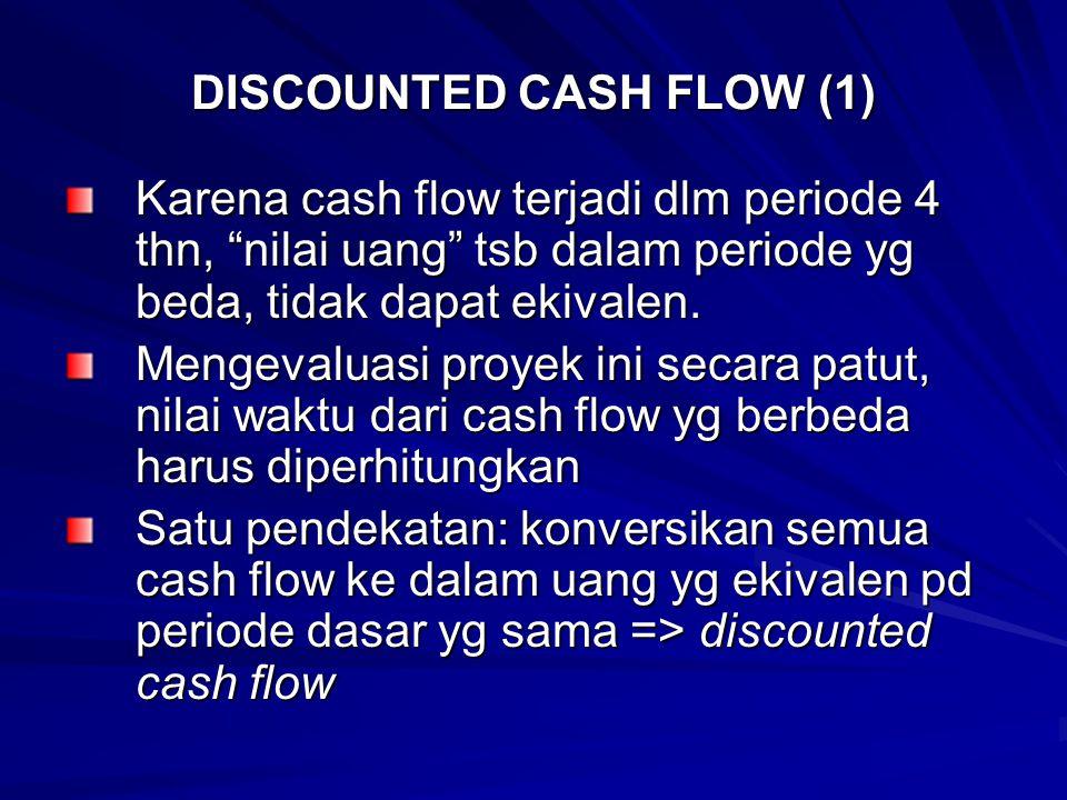 DISCOUNTED CASH FLOW (2) Periode dasar boleh pd t =0, waktu dilakukan investasi Investasi sebesar Rp 50.000 bernilai sama pd t = 0 Masing2 cash flow sebesar Rp 15.000 harus dinyatakan kembali nilainya yg ekivalen pd saat t = 0.