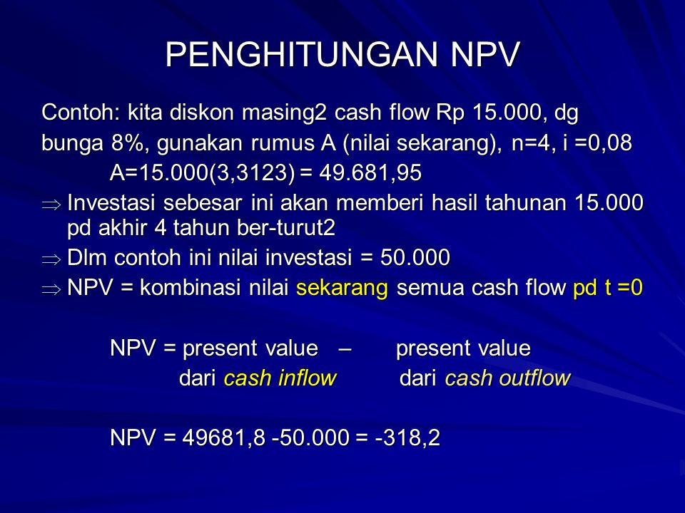PENGHITUNGAN NPV Contoh: kita diskon masing2 cash flow Rp 15.000, dg bunga 8%, gunakan rumus A (nilai sekarang), n=4, i =0,08 A=15.000(3,3123) = 49.68