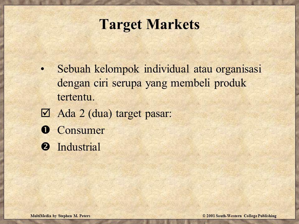 MultiMedia by Stephen M. Peters© 2001 South-Western College Publishing Target Markets Sebuah kelompok individual atau organisasi dengan ciri serupa ya