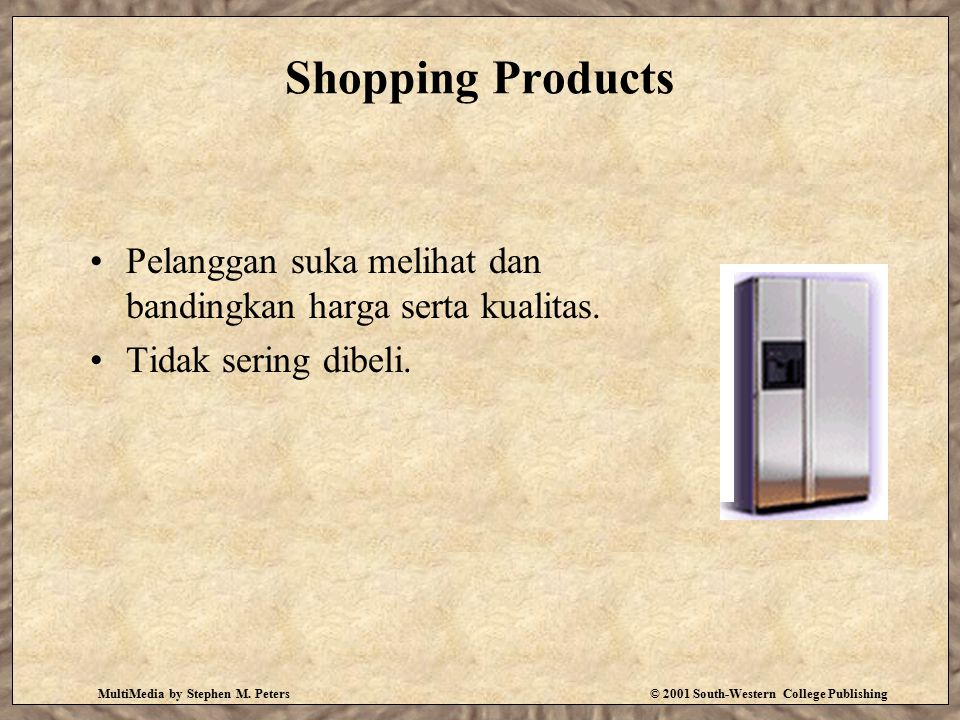 MultiMedia by Stephen M. Peters© 2001 South-Western College Publishing Shopping Products Pelanggan suka melihat dan bandingkan harga serta kualitas. T