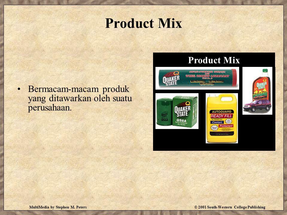 MultiMedia by Stephen M. Peters© 2001 South-Western College Publishing Product Mix Bermacam-macam produk yang ditawarkan oleh suatu perusahaan. Produc