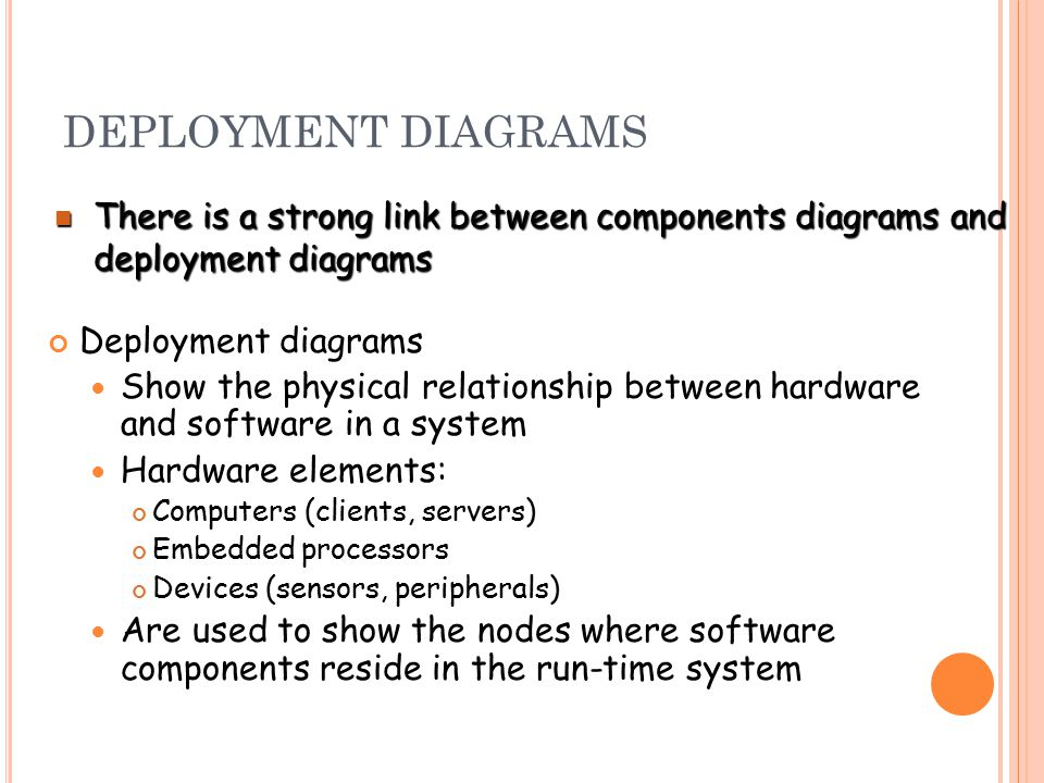 DEPLOYMENT DIAGRAMS Deployment diagrams Show the physical relationship between hardware and software in a system Hardware elements: Computers (clients, servers) Embedded processors Devices (sensors, peripherals) Are used to show the nodes where software components reside in the run-time system There is a strong link between components diagrams and deployment diagrams There is a strong link between components diagrams and deployment diagrams