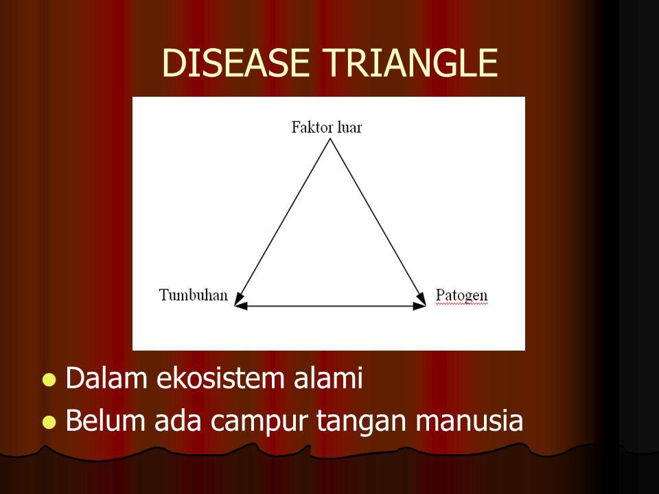 DISEASE TRIANGLE Dalam ekosistem alami Belum ada campur tangan manusia