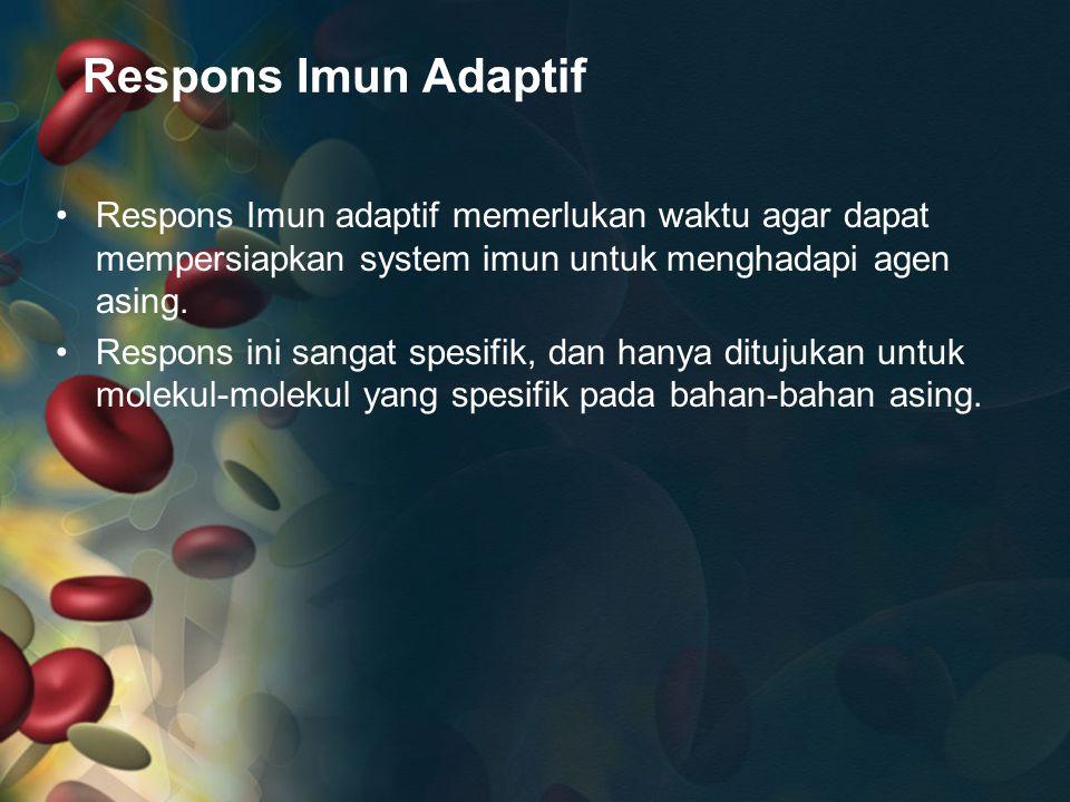 Respons Imun Adaptif Respons Imun adaptif memerlukan waktu agar dapat mempersiapkan system imun untuk menghadapi agen asing. Respons ini sangat spesif