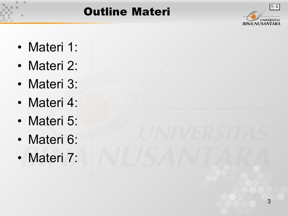 3 Outline Materi Materi 1: Materi 2: Materi 3: Materi 4: Materi 5: Materi 6: Materi 7: