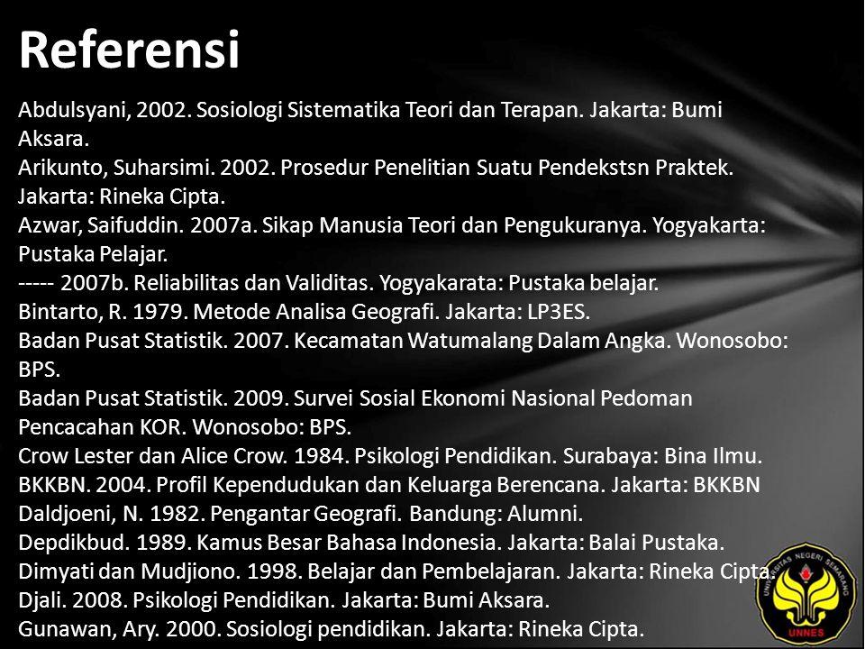 Referensi Abdulsyani, 2002. Sosiologi Sistematika Teori dan Terapan.