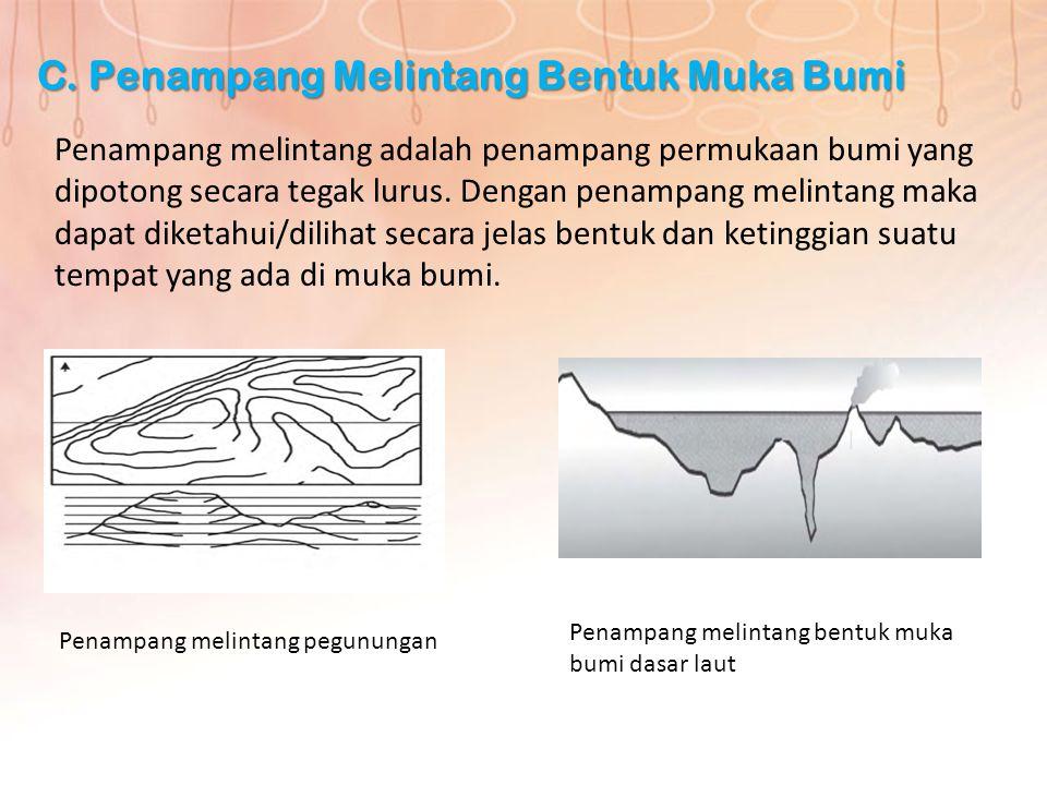 C. Penampang Melintang Bentuk Muka Bumi Penampang melintang adalah penampang permukaan bumi yang dipotong secara tegak lurus. Dengan penampang melinta