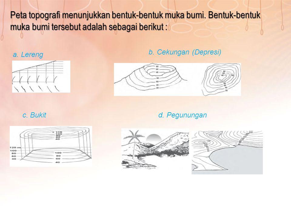 Peta topografi menunjukkan bentuk-bentuk muka bumi. Bentuk-bentuk muka bumi tersebut adalah sebagai berikut : a. Lereng b. Cekungan (Depresi) c. Bukit