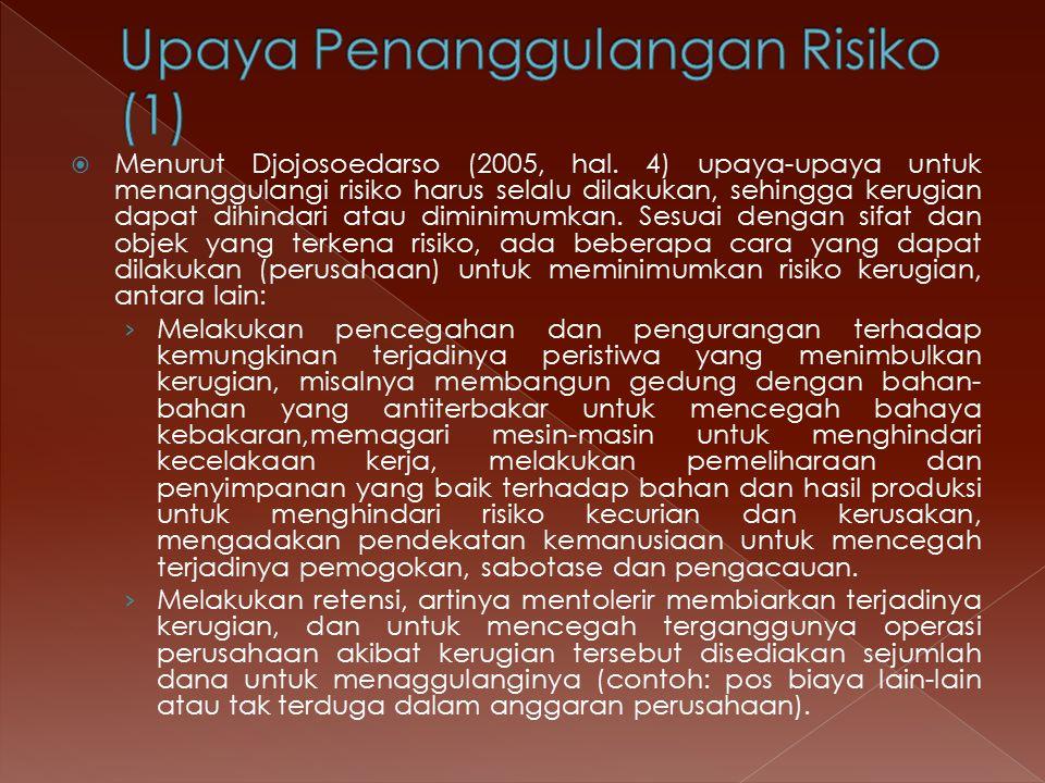  Menurut Djojosoedarso (2005, hal. 4) upaya-upaya untuk menanggulangi risiko harus selalu dilakukan, sehingga kerugian dapat dihindari atau diminimum
