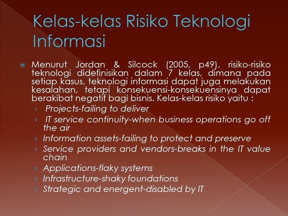  Menurut Jordan & Silcock (2005, p49), risiko-risiko teknologi didefinisikan dalam 7 kelas, dimana pada setiap kasus, teknologi informasi dapat juga