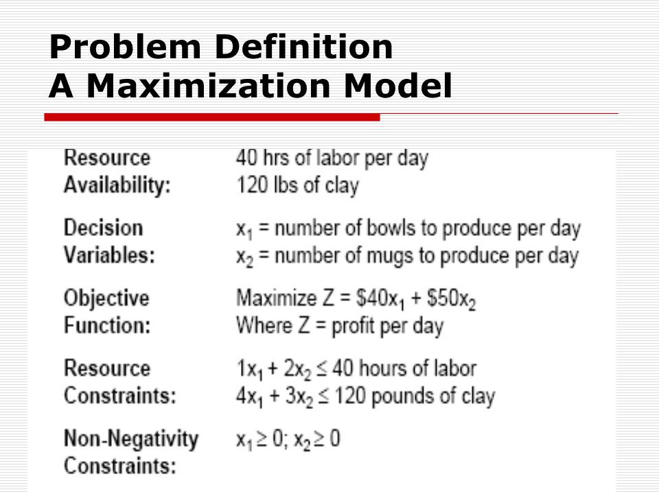 Complete Linear Programming Model: