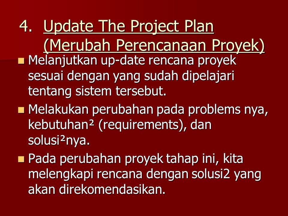 4.Update The Project Plan (Merubah Perencanaan Proyek) Melanjutkan up-date rencana proyek sesuai dengan yang sudah dipelajari tentang sistem tersebut.