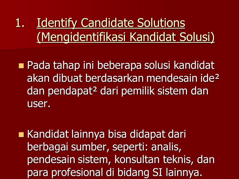 1.Identify Candidate Solutions (Mengidentifikasi Kandidat Solusi) Pada tahap ini beberapa solusi kandidat akan dibuat berdasarkan mendesain ide² dan p