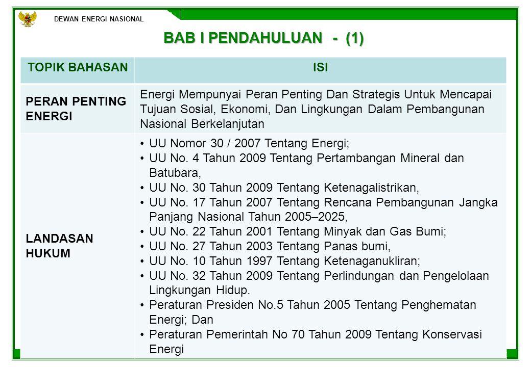 DEWAN ENERGI NASIONAL 13 BAB IV BAURAN PENYEDIAAN ENERGI 2010 – 2050 (2) DEWAN ENERGI NASIONAL BAHASANISI PENYEDIAAN & BAURAN ENERGI -PROYEKSI PENYEDIAAN ENERGI 2010 – 2050 :PROYEKSI PENYEDIAAN ENERGI 2010 – 2050 : 154,3 MTOE (2010); 282,9 MTOE (2020); 505,3 MTOE (2030); 833,4 MTOE (2040), dan 1167,5 MTOE (2050) -PROYEKSI BAURAN PENYEDIAAN ENERGI PRIMERPROYEKSI BAURAN PENYEDIAAN ENERGI PRIMER -PROYEKSI KAPASITAS PEMBANGKIT TENAGA LISTRIK :PROYEKSI KAPASITAS PEMBANGKIT TENAGA LISTRIK 36,15 GW (2010); 102,40 GW (2020); 217,65 GW (2030); 385,19 GW (2040); 655,97 GW (2050) -PROYEKSI BAURAN KAPASITAS PEMBANGKIT TENAGA LISTRIKPROYEKSI BAURAN KAPASITAS PEMBANGKIT TENAGA LISTRIK