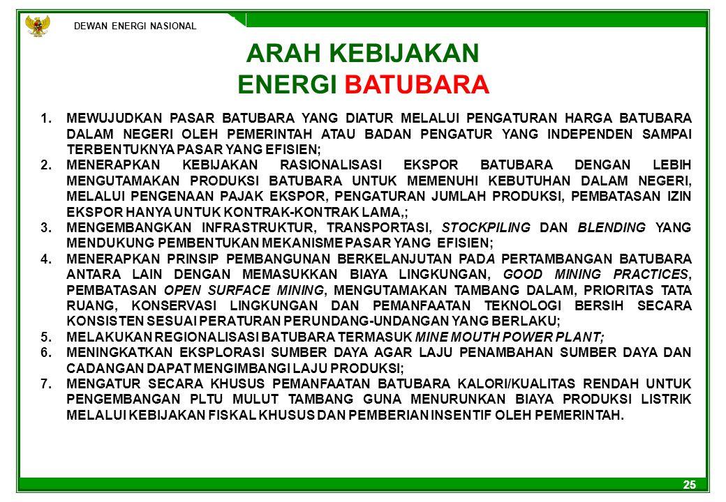 25 ARAH KEBIJAKAN ENERGI BATUBARA 1.MEWUJUDKAN PASAR BATUBARA YANG DIATUR MELALUI PENGATURAN HARGA BATUBARA DALAM NEGERI OLEH PEMERINTAH ATAU BADAN PE