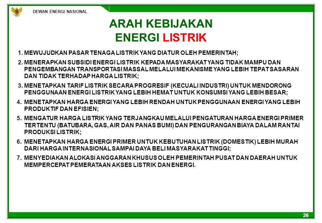 26 ARAH KEBIJAKAN ENERGI LISTRIK 1.MEWUJUDKAN PASAR TENAGA LISTRIK YANG DIATUR OLEH PEMERINTAH; 2.MENERAPKAN SUBSIDI ENERGI LISTRIK KEPADA MASYARAKAT