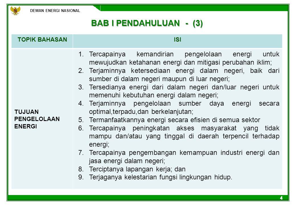 DEWAN ENERGI NASIONAL 44 TOPIK BAHASANISI TUJUAN PENGELOLAAN ENERGI 1.Tercapainya kemandirian pengelolaan energi untuk mewujudkan ketahanan energi dan
