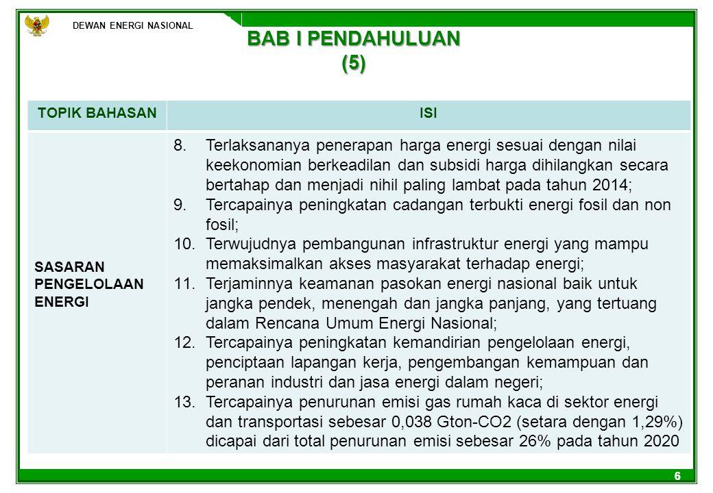 DEWAN ENERGI NASIONAL 77 BAB II KONDISI SAAT INI (1) DEWAN ENERGI NASIONAL TOPIK BAHASANISI PARADIGMA PENGELOLAAN ENERGI Pengelolaan energi berorientasi pada ekspor sumberdaya energi sebagai sumber utama penerimaan negara Energi sebagai modal pembangunan KONSERVASI DAN EFFISIENSI ENERGI Cadangan penyangga energi yang harus disimpan secara nasional belum ditetapkan dan lokasi peruntukannya masih ada yang tumpang tindih dengan Tata Ruang Nasional.