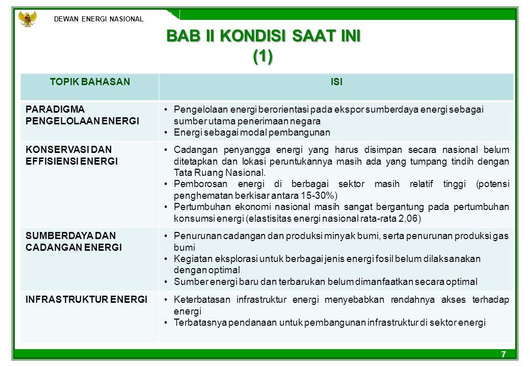 DEWAN ENERGI NASIONAL 77 BAB II KONDISI SAAT INI (1) DEWAN ENERGI NASIONAL TOPIK BAHASANISI PARADIGMA PENGELOLAAN ENERGI Pengelolaan energi berorienta