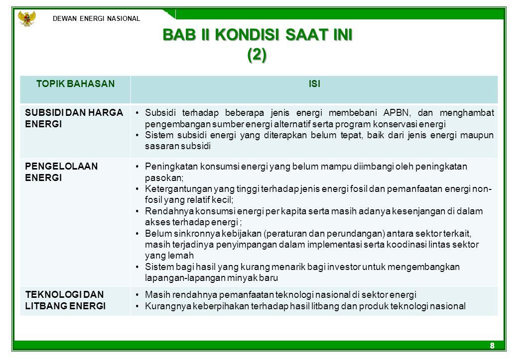 DEWAN ENERGI NASIONAL 88 BAB II KONDISI SAAT INI (2) DEWAN ENERGI NASIONAL TOPIK BAHASANISI SUBSIDI DAN HARGA ENERGI Subsidi terhadap beberapa jenis e