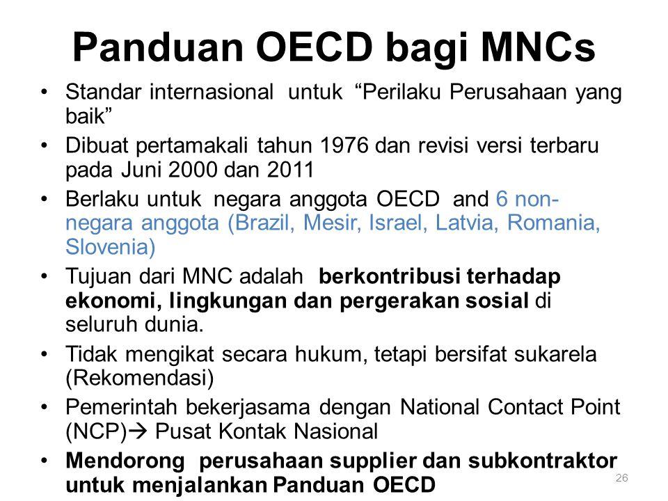 """26 Panduan OECD bagi MNCs Standar internasional untuk """"Perilaku Perusahaan yang baik"""" Dibuat pertamakali tahun 1976 dan revisi versi terbaru pada Juni"""