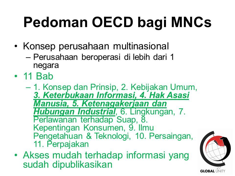 Pedoman OECD bagi MNCs Konsep perusahaan multinasional –Perusahaan beroperasi di lebih dari 1 negara 11 Bab –1. Konsep dan Prinsip, 2. Kebijakan Umum,