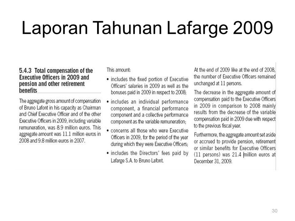 30 Laporan Tahunan Lafarge 2009