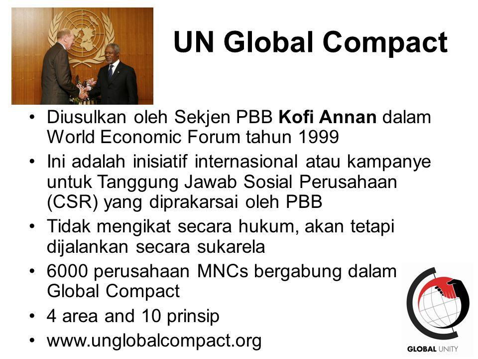 41 UN Global Compact Diusulkan oleh Sekjen PBB Kofi Annan dalam World Economic Forum tahun 1999 Ini adalah inisiatif internasional atau kampanye untuk