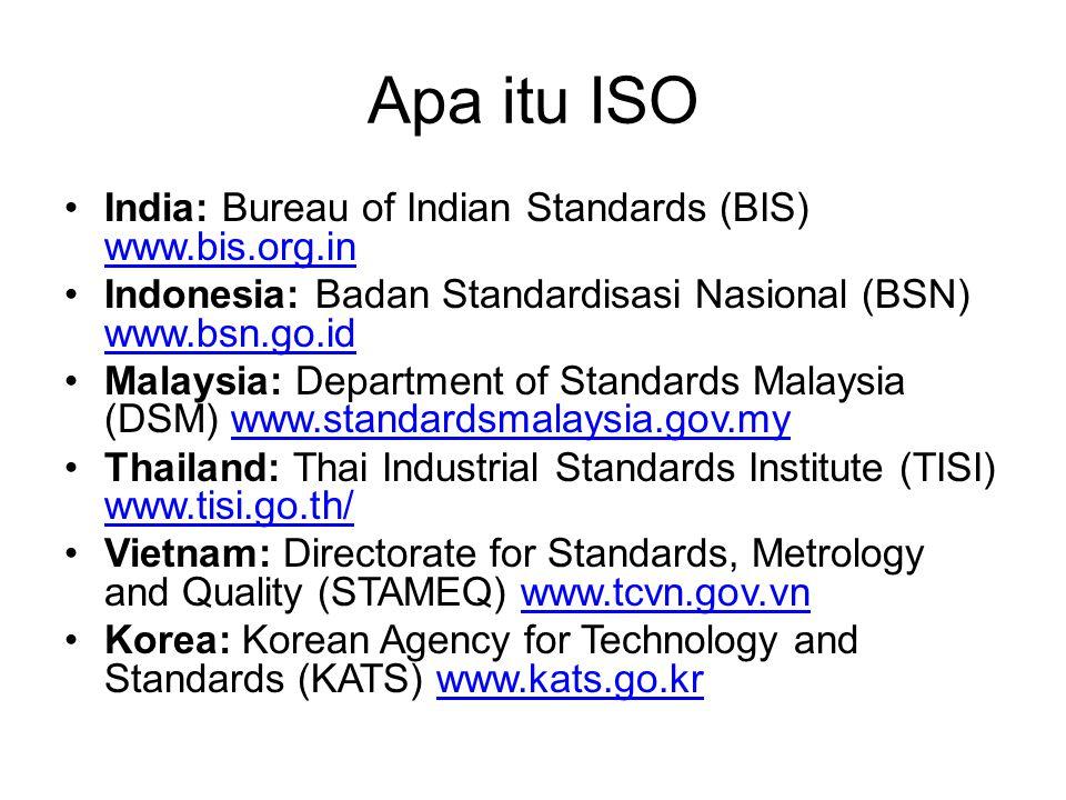 Apa itu ISO India: Bureau of Indian Standards (BIS) www.bis.org.in www.bis.org.in Indonesia: Badan Standardisasi Nasional (BSN) www.bsn.go.id www.bsn.