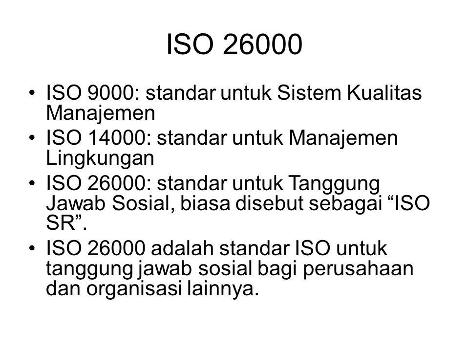 ISO 26000 ISO 9000: standar untuk Sistem Kualitas Manajemen ISO 14000: standar untuk Manajemen Lingkungan ISO 26000: standar untuk Tanggung Jawab Sosi