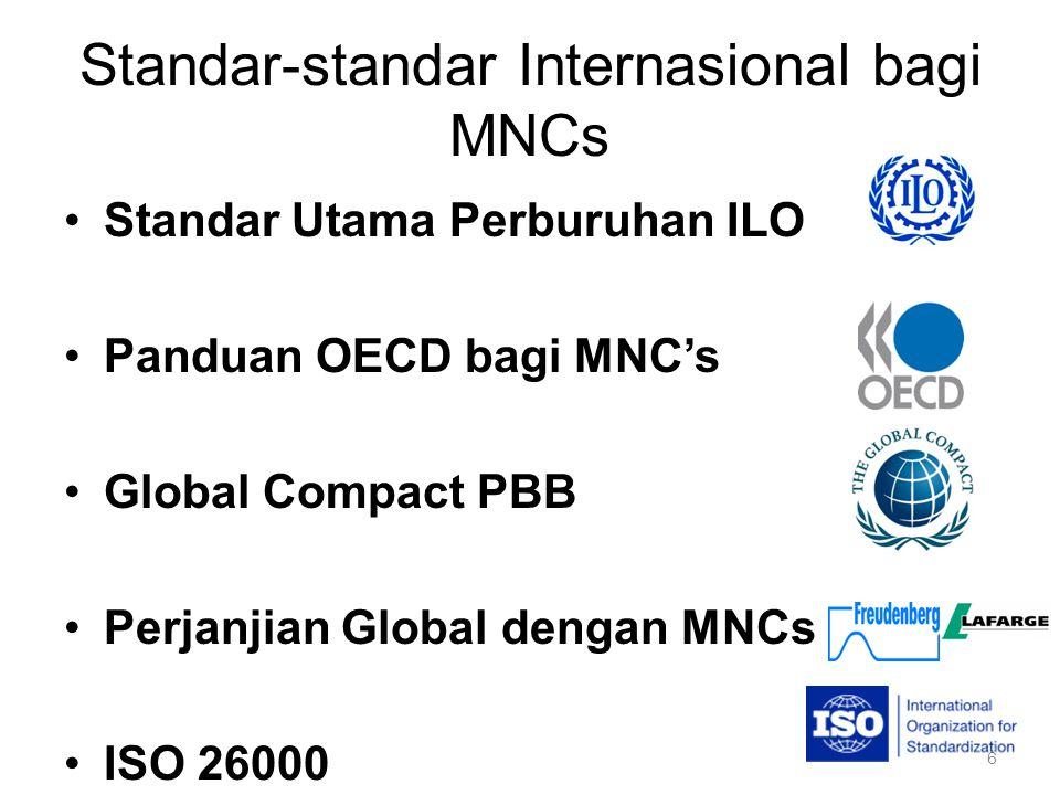 Pedoman OECD bagi MNCs Konsep perusahaan multinasional –Perusahaan beroperasi di lebih dari 1 negara 11 Bab –1.