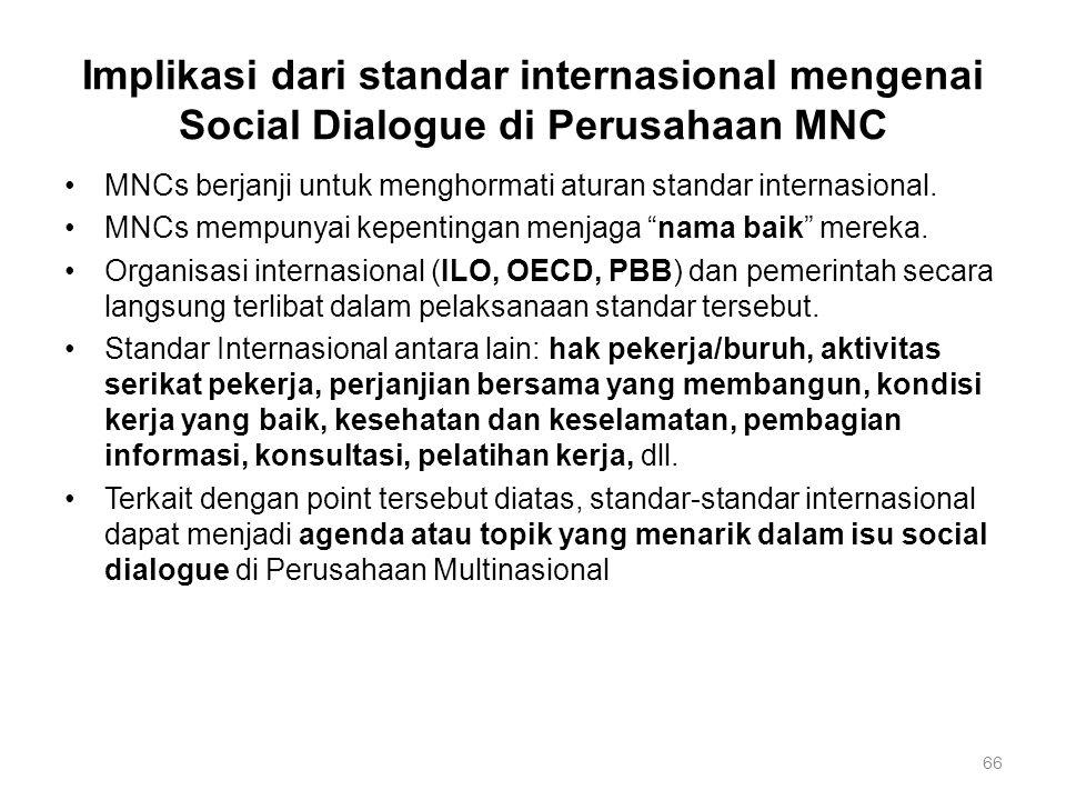 66 Implikasi dari standar internasional mengenai Social Dialogue di Perusahaan MNC MNCs berjanji untuk menghormati aturan standar internasional. MNCs