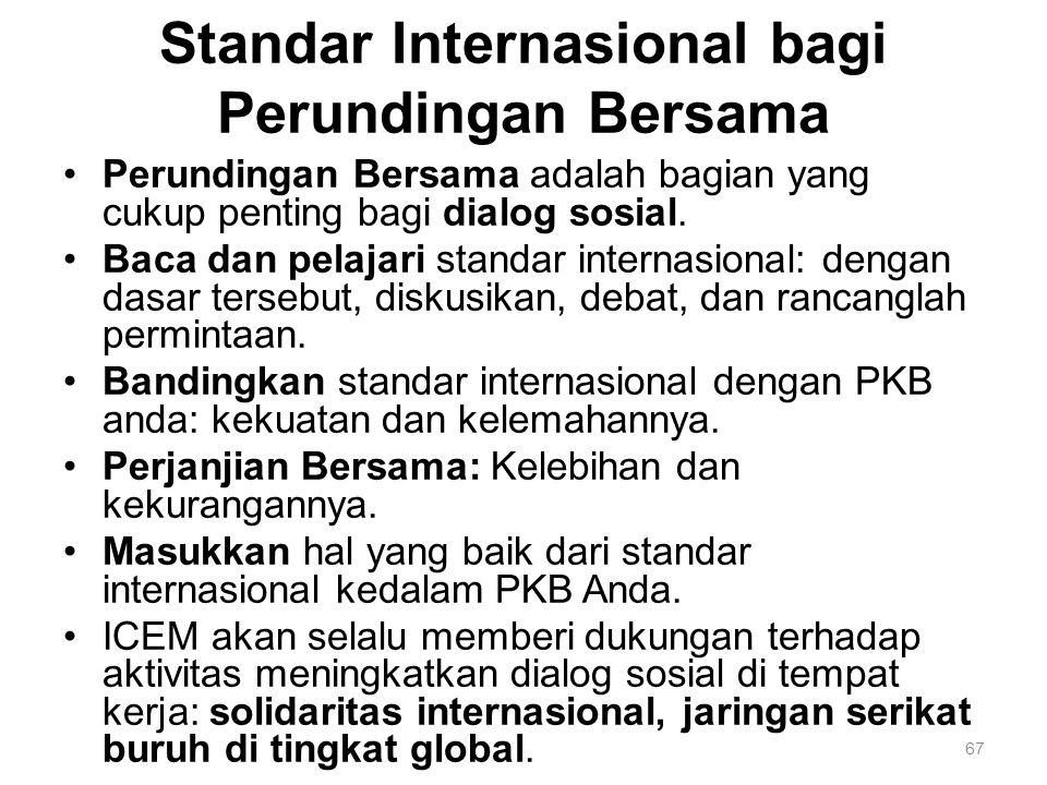 67 Standar Internasional bagi Perundingan Bersama Perundingan Bersama adalah bagian yang cukup penting bagi dialog sosial. Baca dan pelajari standar i