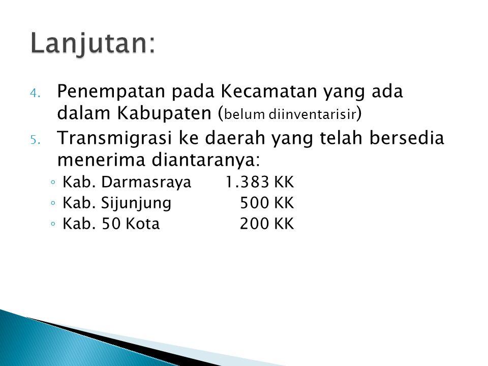 4. Penempatan pada Kecamatan yang ada dalam Kabupaten ( belum diinventarisir ) 5. Transmigrasi ke daerah yang telah bersedia menerima diantaranya: ◦ K