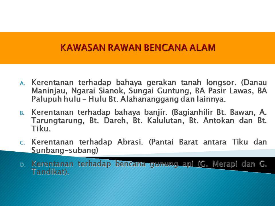 A. Kerentanan terhadap bahaya gerakan tanah longsor. (Danau Maninjau, Ngarai Sianok, Sungai Guntung, BA Pasir Lawas, BA Palupuh hulu – Hulu Bt. Alahan