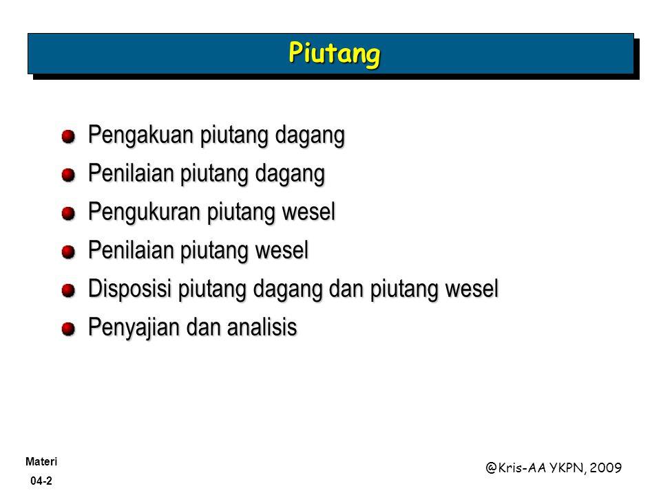 Materi 04-2 @Kris-AA YKPN, 2009 PiutangPiutang Pengakuan piutang dagang Penilaian piutang dagang Pengukuran piutang wesel Penilaian piutang wesel Disp