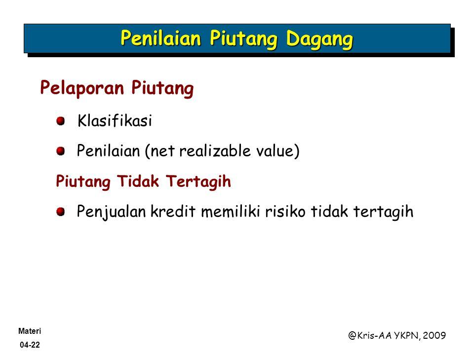 Materi 04-22 @Kris-AA YKPN, 2009 Penilaian Piutang Dagang Pelaporan Piutang Klasifikasi Penilaian (net realizable value) Piutang Tidak Tertagih Penjua