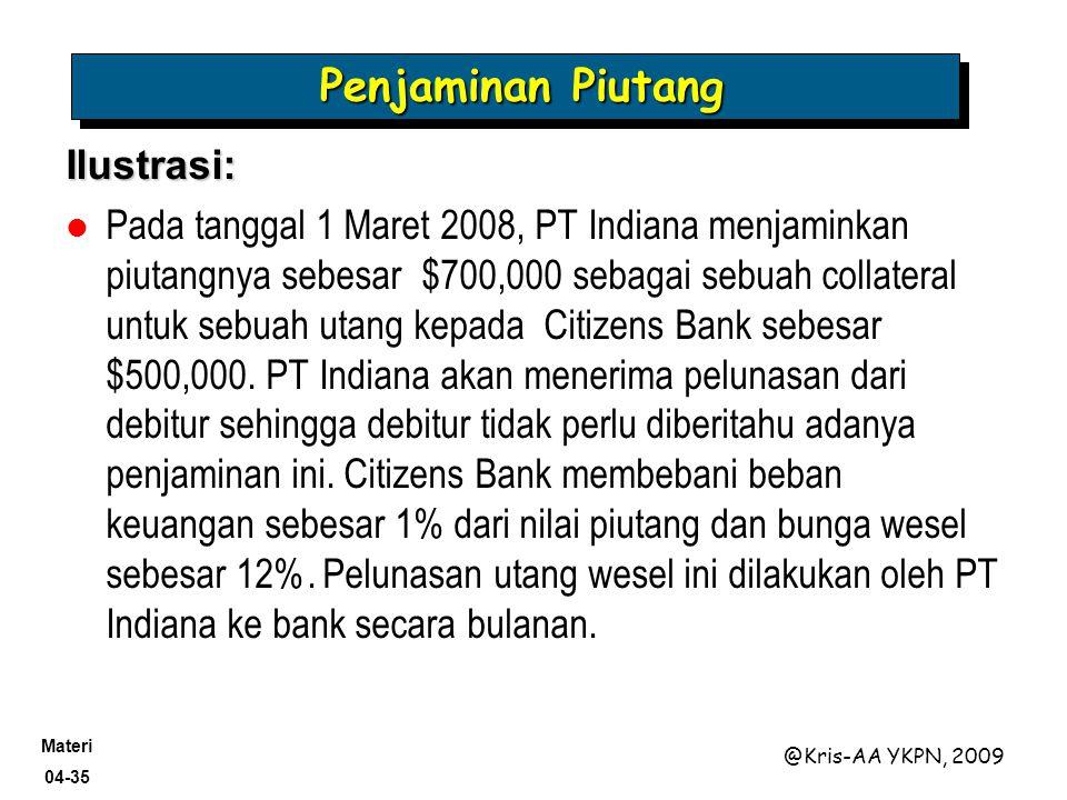 Materi 04-35 @Kris-AA YKPN, 2009 Penjaminan Piutang Ilustrasi: Pada tanggal 1 Maret 2008, PT Indiana menjaminkan piutangnya sebesar $700,000 sebagai s