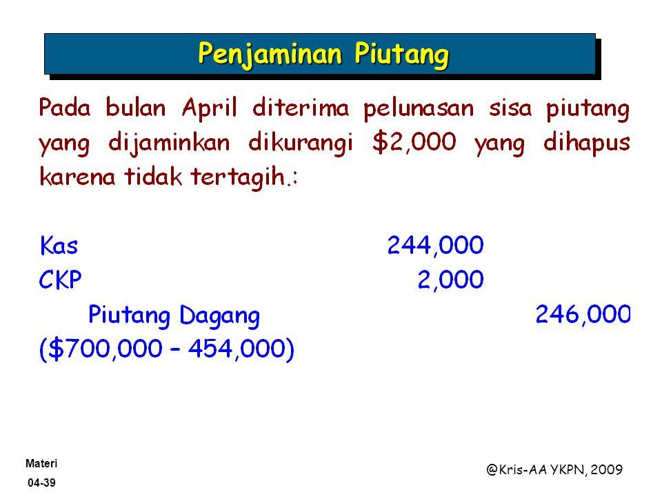 Materi 04-39 @Kris-AA YKPN, 2009 Penjaminan Piutang