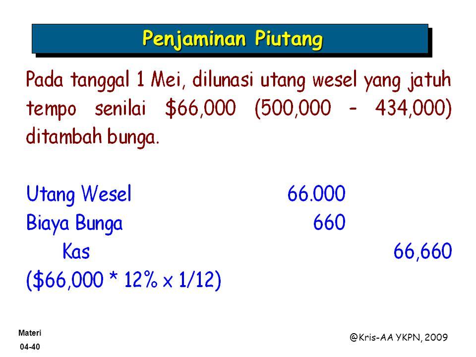 Materi 04-40 @Kris-AA YKPN, 2009 Penjaminan Piutang