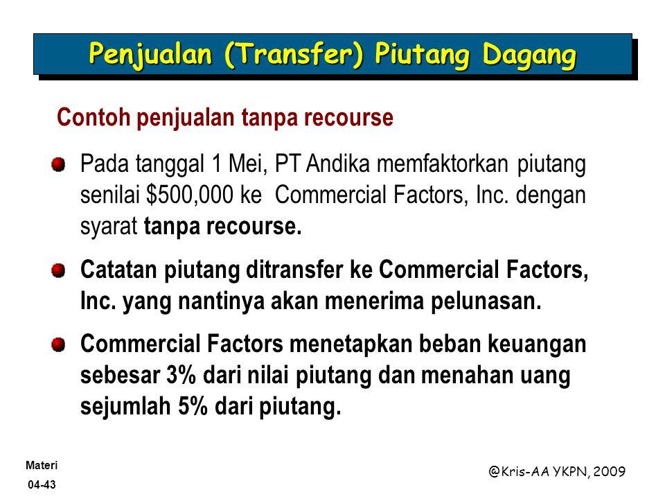 Materi 04-43 @Kris-AA YKPN, 2009 Contoh penjualan tanpa recourse Pada tanggal 1 Mei, PT Andika memfaktorkan piutang senilai $500,000 ke Commercial Fac
