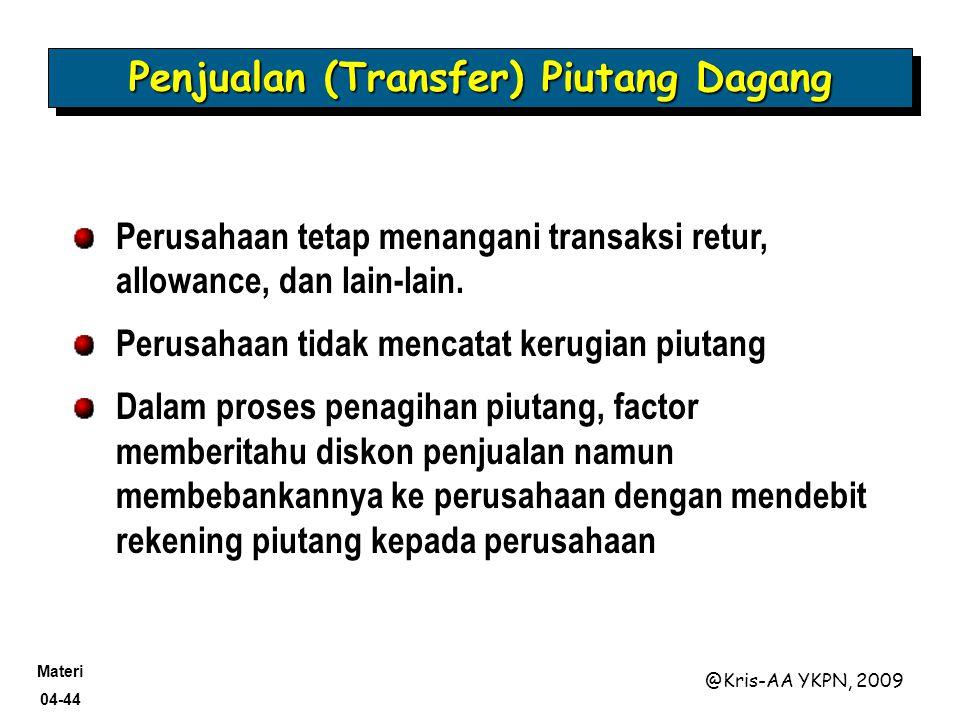 Materi 04-44 @Kris-AA YKPN, 2009 Perusahaan tetap menangani transaksi retur, allowance, dan lain-lain. Perusahaan tidak mencatat kerugian piutang Dala