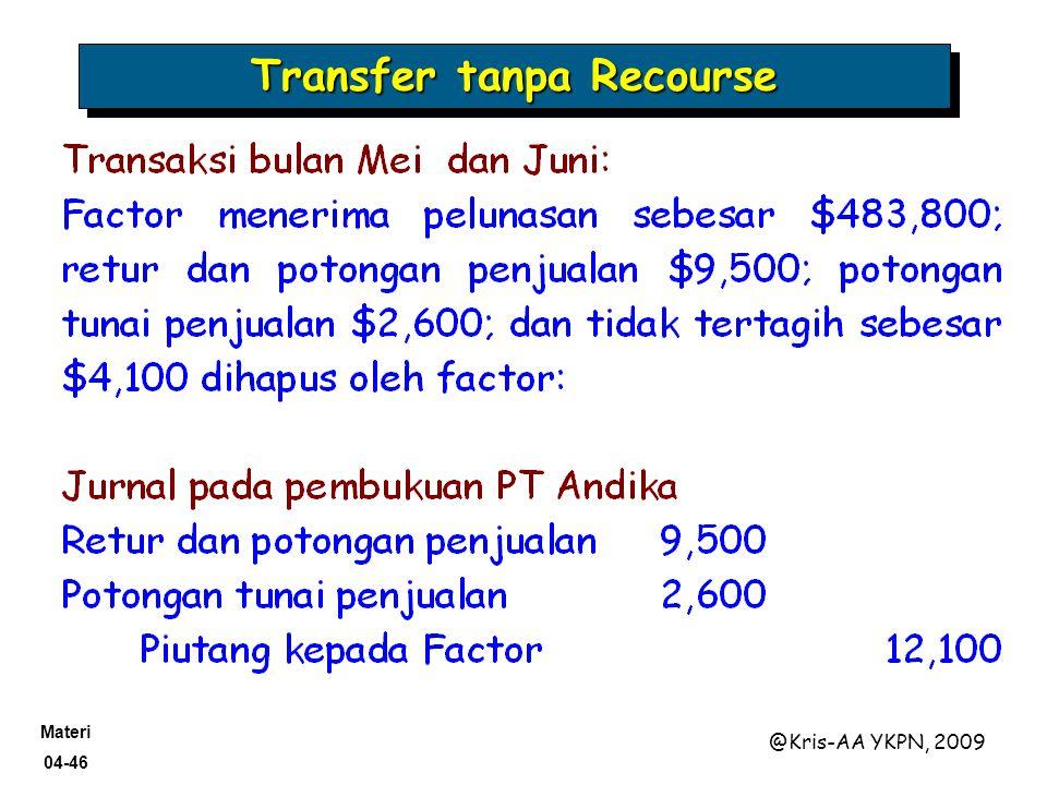 Materi 04-46 @Kris-AA YKPN, 2009 Transfer tanpa Recourse
