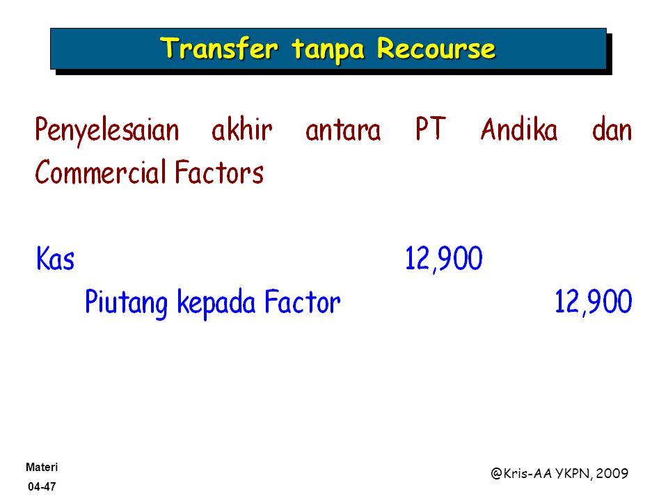 Materi 04-47 @Kris-AA YKPN, 2009 Transfer tanpa Recourse